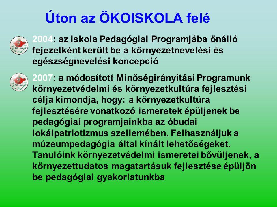 Úton az ÖKOISKOLA felé 2004: az iskola Pedagógiai Programjába önálló fejezetként került be a környezetnevelési és egészségnevelési koncepció.