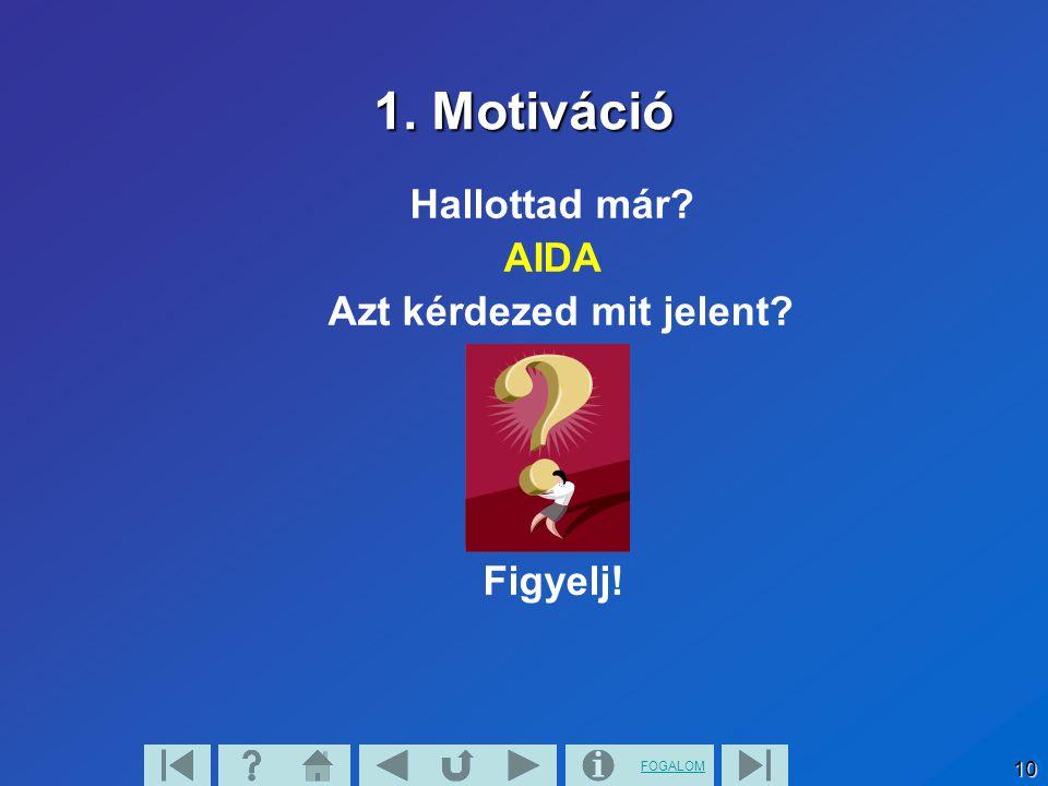 1. Motiváció Hallottad már AIDA Azt kérdezed mit jelent Figyelj!
