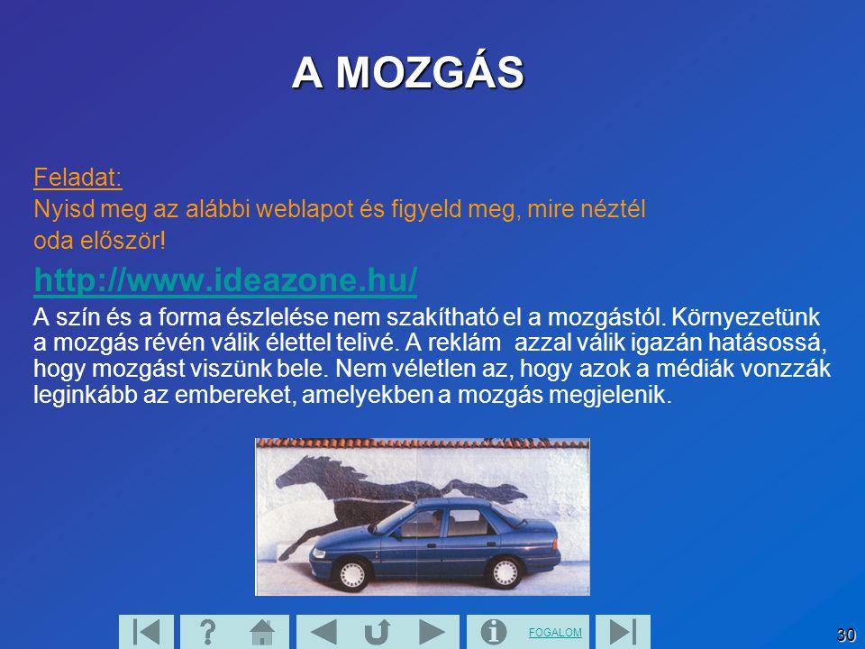 A MOZGÁS http://www.ideazone.hu/ Feladat: