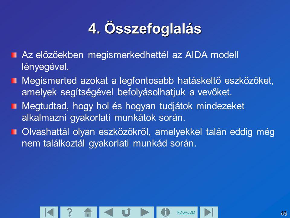 4. Összefoglalás Az előzőekben megismerkedhettél az AIDA modell lényegével.