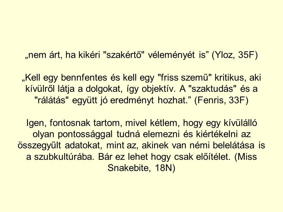 """""""nem árt, ha kikéri szakértő véleményét is (Yloz, 35F) """"Kell egy bennfentes és kell egy friss szemű kritikus, aki kívülről látja a dolgokat, így objektív."""
