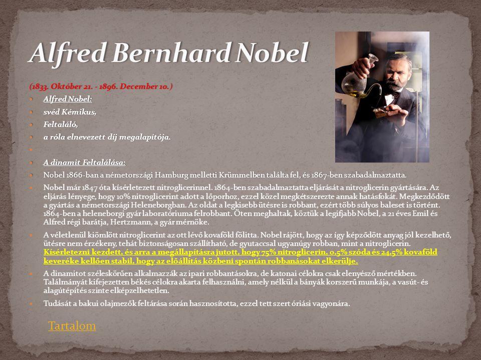 Alfred Bernhard Nobel Tartalom