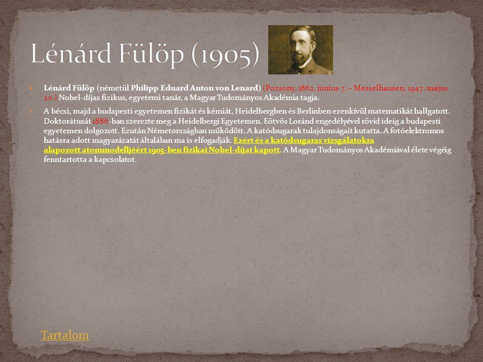Lénárd Fülöp (1905) Tartalom