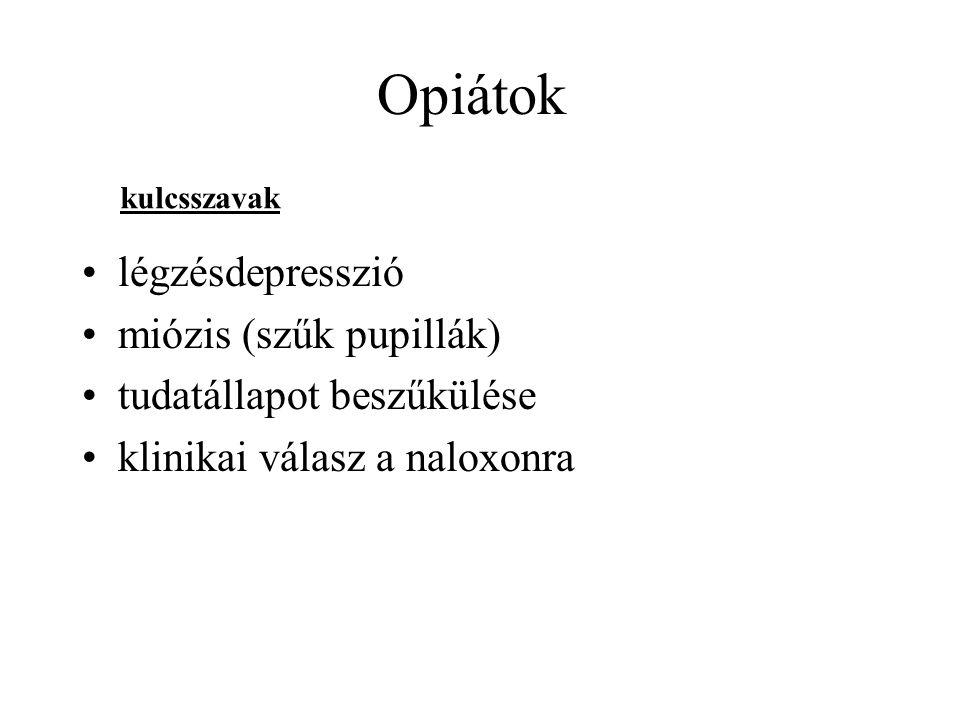 Opiátok légzésdepresszió miózis (szűk pupillák)