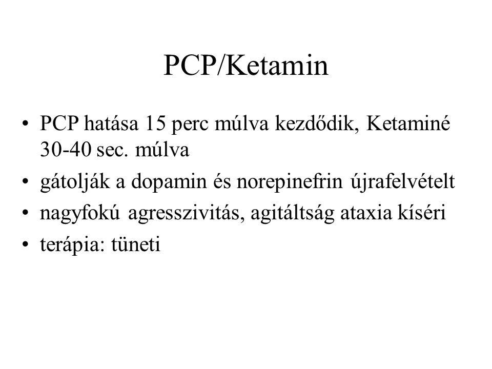 PCP/Ketamin PCP hatása 15 perc múlva kezdődik, Ketaminé 30-40 sec. múlva. gátolják a dopamin és norepinefrin újrafelvételt.