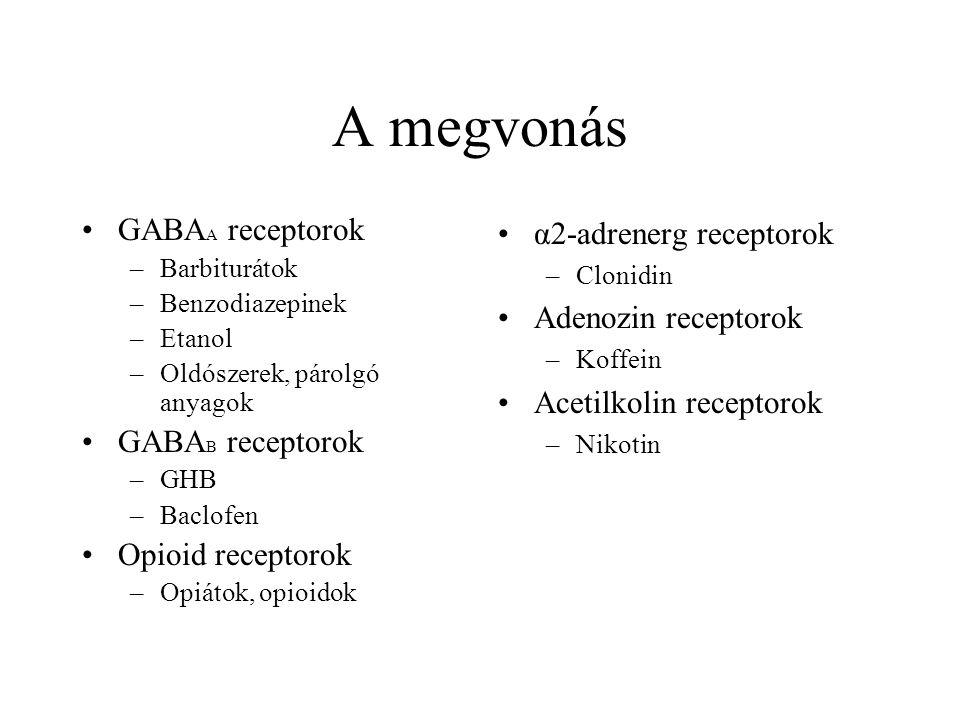 A megvonás GABAA receptorok GABAB receptorok Opioid receptorok