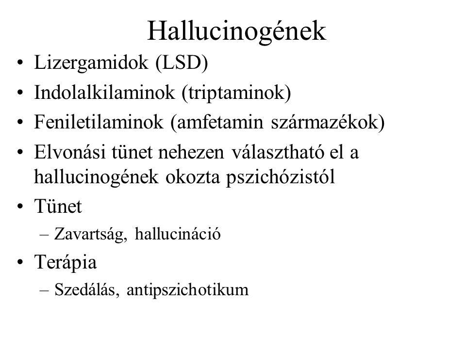 Hallucinogének Lizergamidok (LSD) Indolalkilaminok (triptaminok)