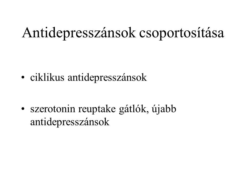 Antidepresszánsok csoportosítása