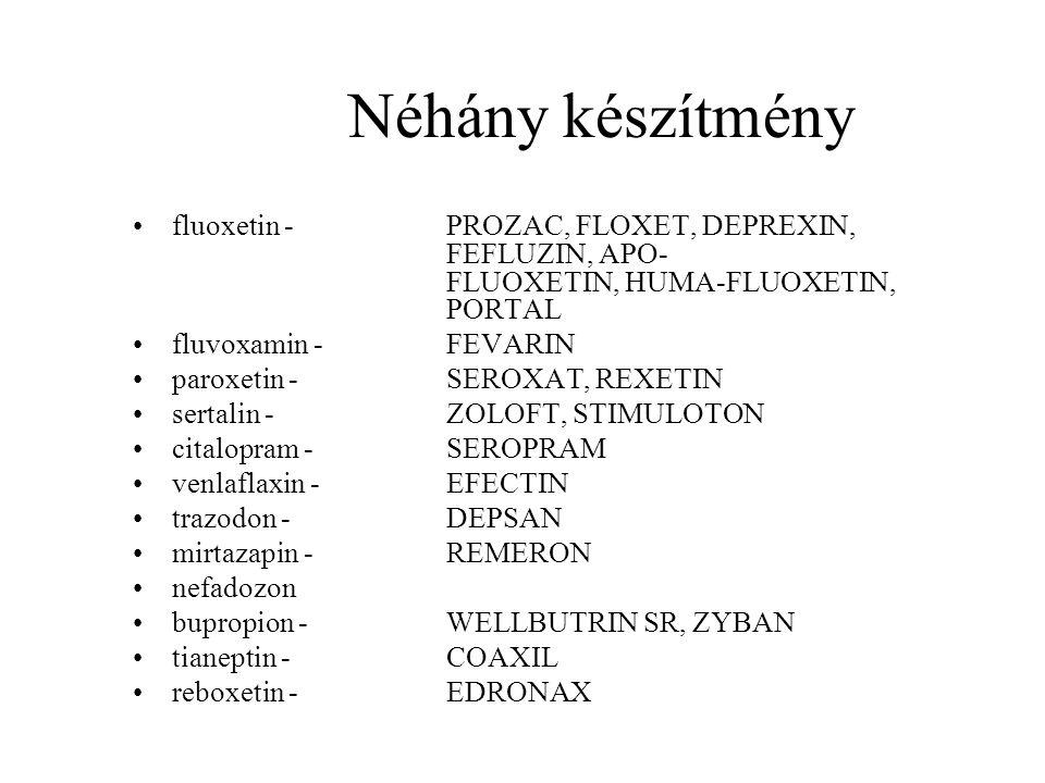Néhány készítmény fluoxetin - PROZAC, FLOXET, DEPREXIN, FEFLUZIN, APO- FLUOXETIN, HUMA-FLUOXETIN, PORTAL.