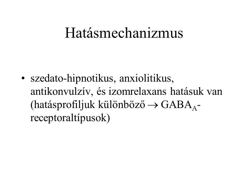 Hatásmechanizmus szedato-hipnotikus, anxiolitikus, antikonvulzív, és izomrelaxans hatásuk van (hatásprofiljuk különböző  GABAA-receptoraltípusok)