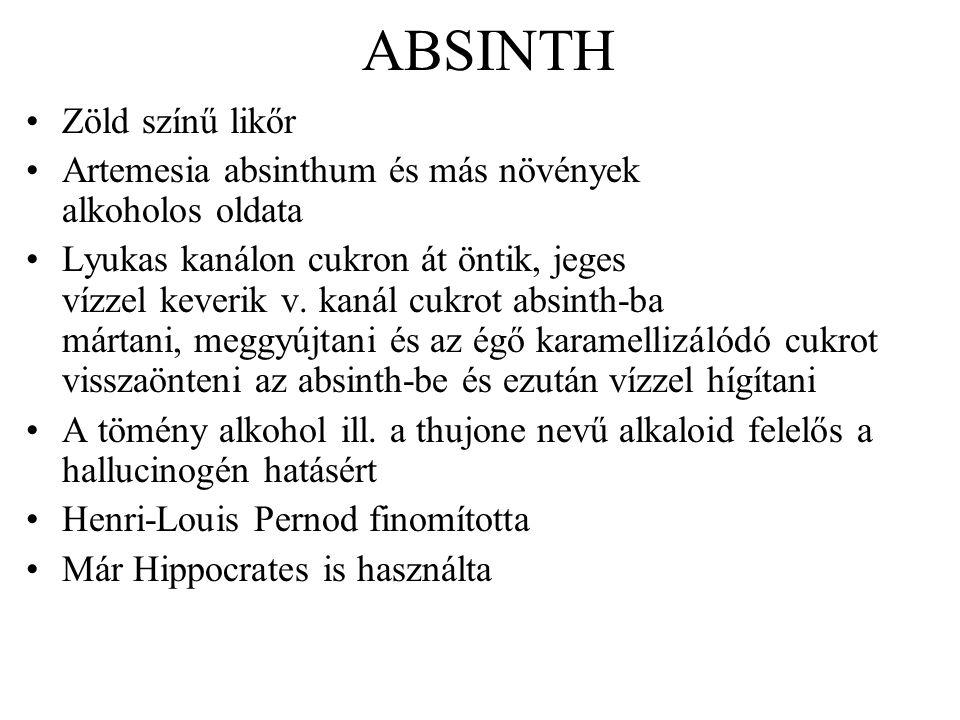 ABSINTH Zöld színű likőr