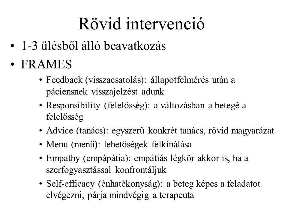 Rövid intervenció 1-3 ülésből álló beavatkozás FRAMES