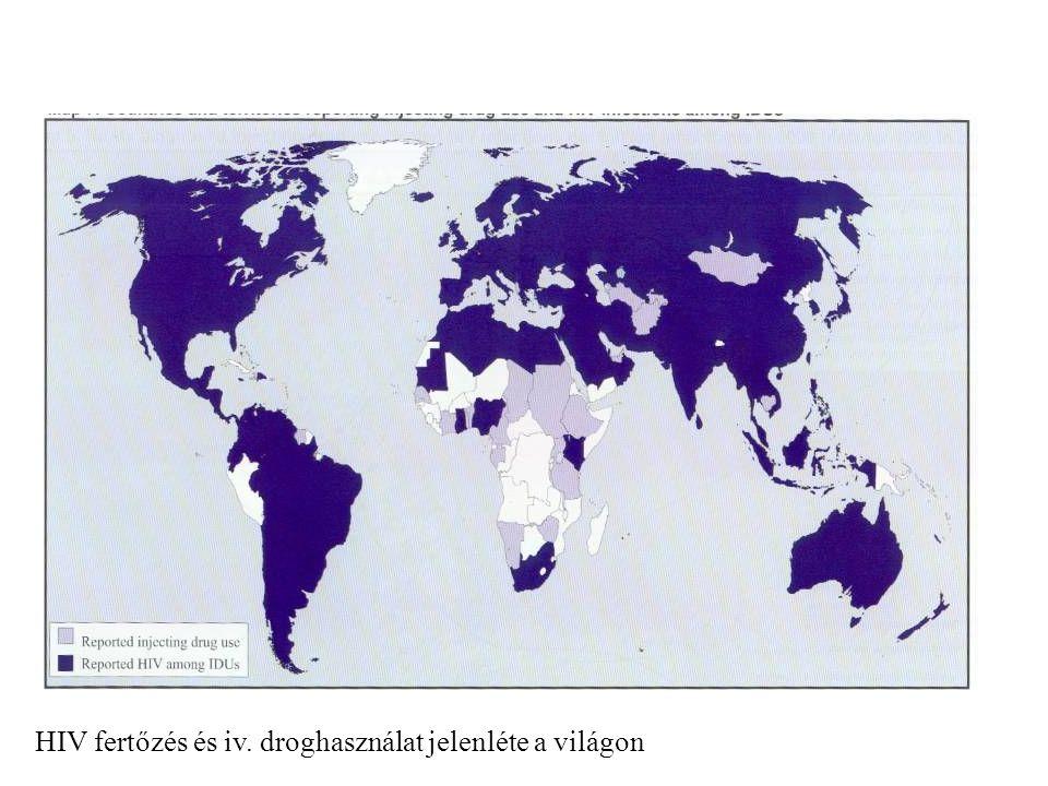 HIV fertőzés és iv. droghasználat jelenléte a világon