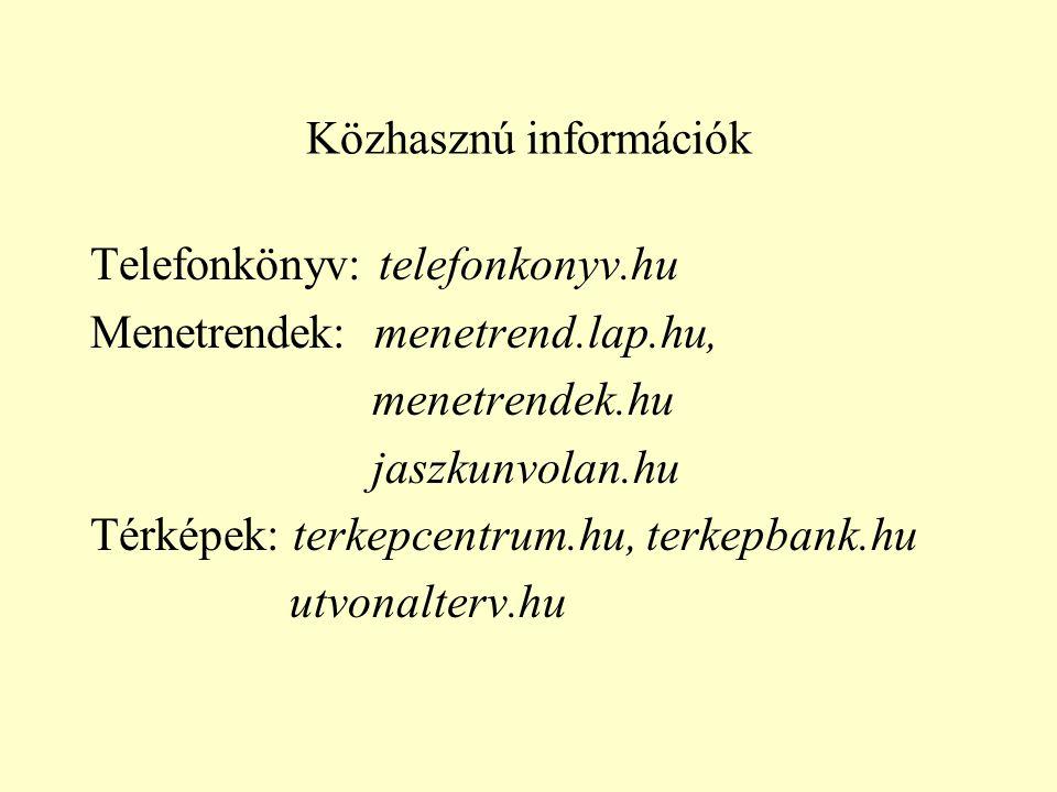 Közhasznú információk