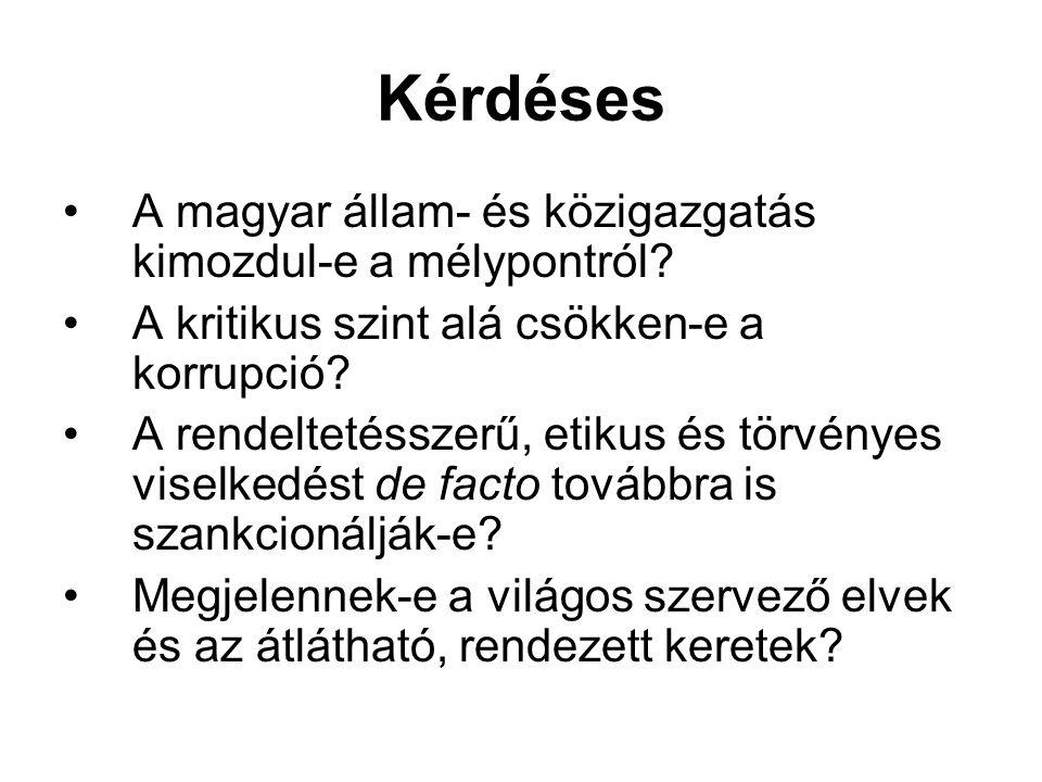 Kérdéses A magyar állam- és közigazgatás kimozdul-e a mélypontról