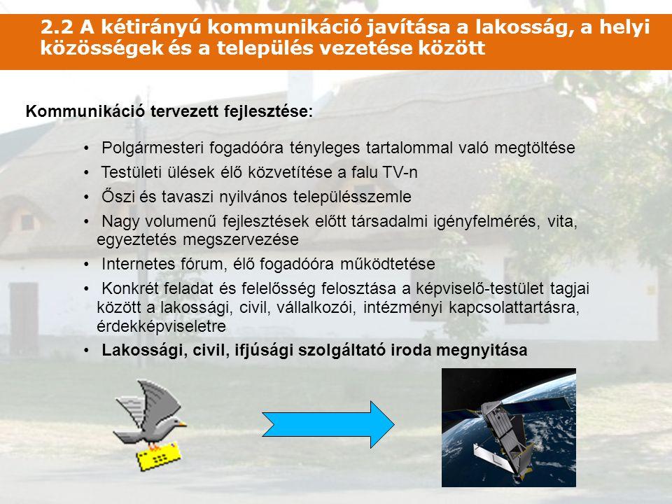 2.2 A kétirányú kommunikáció javítása a lakosság, a helyi közösségek és a település vezetése között