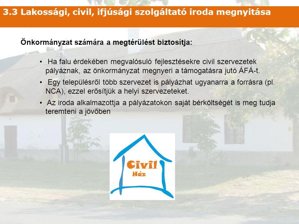 3.3 Lakossági, civil, ifjúsági szolgáltató iroda megnyitása