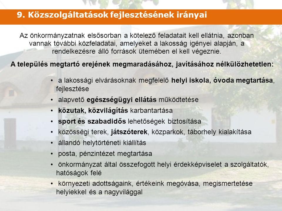 9. Közszolgáltatások fejlesztésének irányai