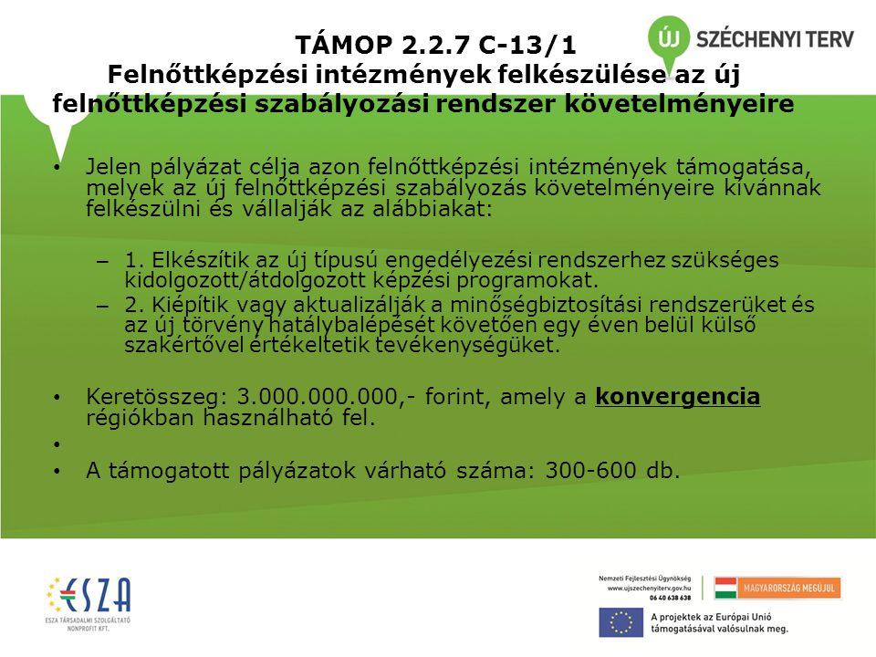 TÁMOP 2.2.7 C-13/1 Felnőttképzési intézmények felkészülése az új felnőttképzési szabályozási rendszer követelményeire