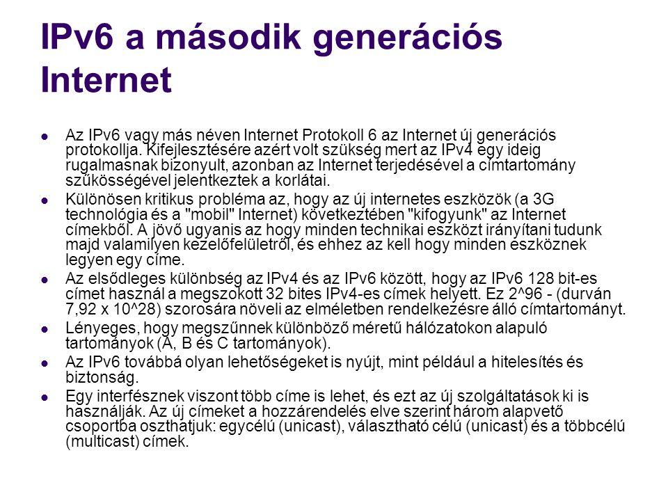 IPv6 a második generációs Internet