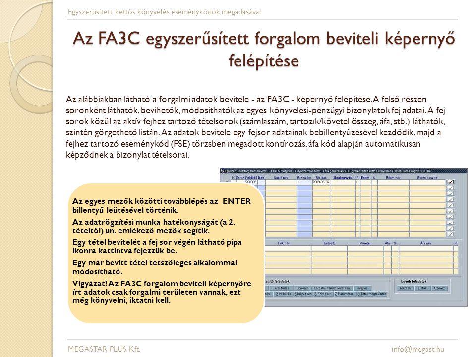 Az FA3C egyszerűsített forgalom beviteli képernyő felépítése