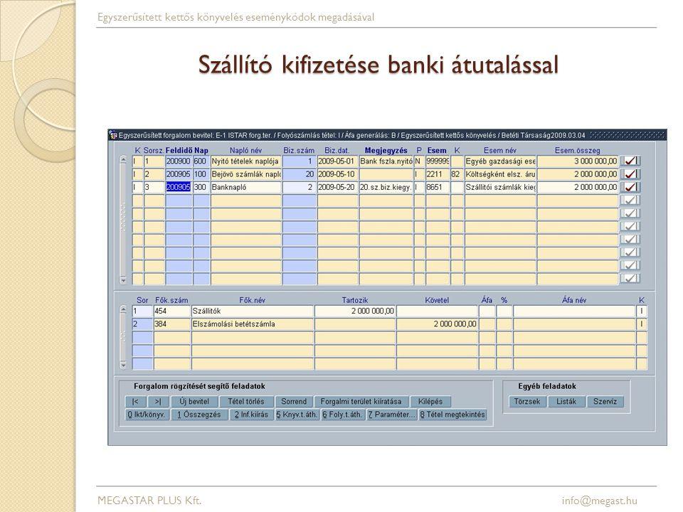 Szállító kifizetése banki átutalással