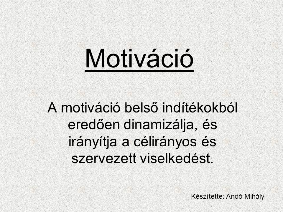Motiváció A motiváció belső indítékokból eredően dinamizálja, és irányítja a célirányos és szervezett viselkedést.