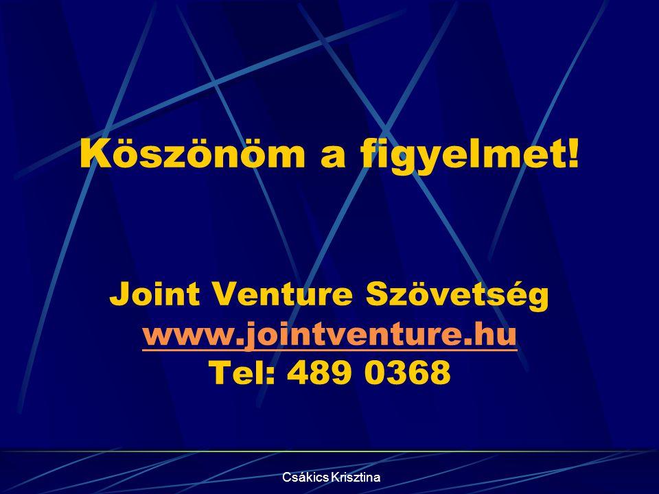 Köszönöm a figyelmet. Joint Venture Szövetség www. jointventure