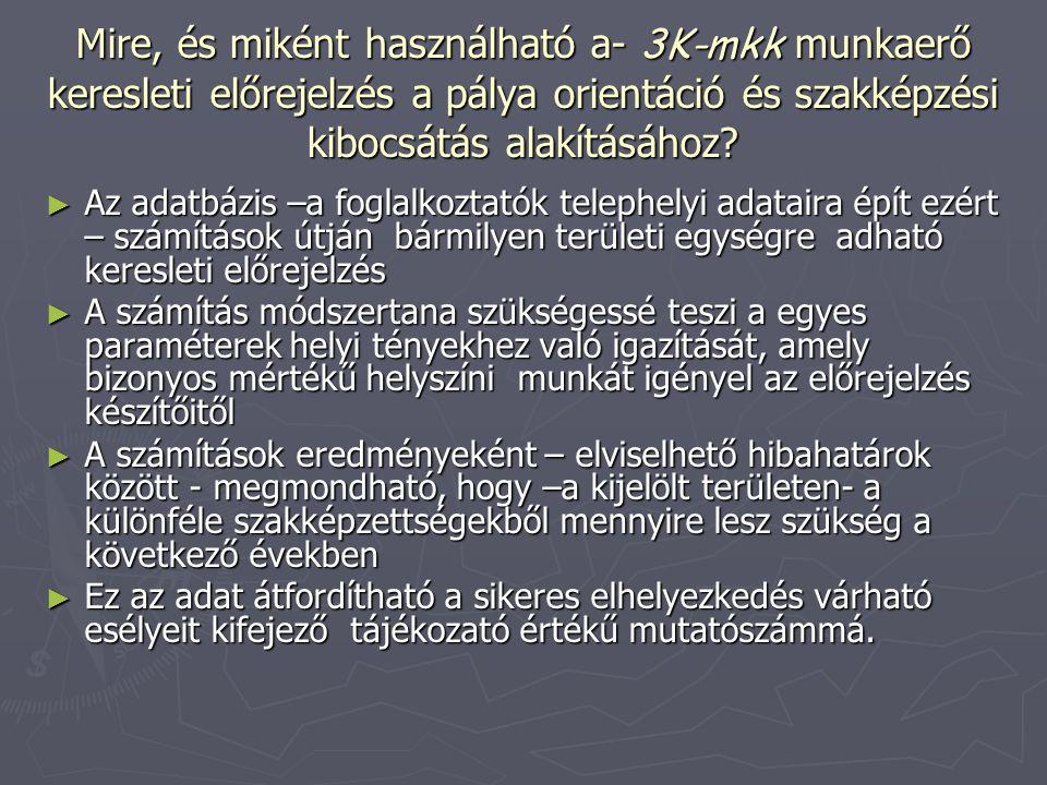 Mire, és miként használható a- 3K-mkk munkaerő keresleti előrejelzés a pálya orientáció és szakképzési kibocsátás alakításához