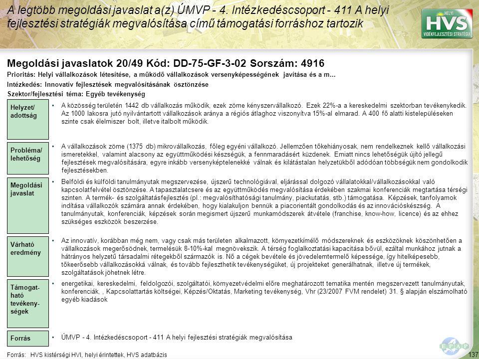 Megoldási javaslatok 20/49 Kód: DD-75-GF-3-02 Sorszám: 4916
