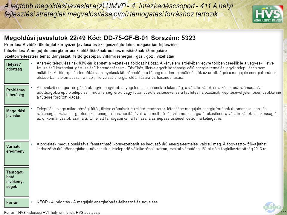 Megoldási javaslatok 22/49 Kód: DD-75-GF-B-01 Sorszám: 5323