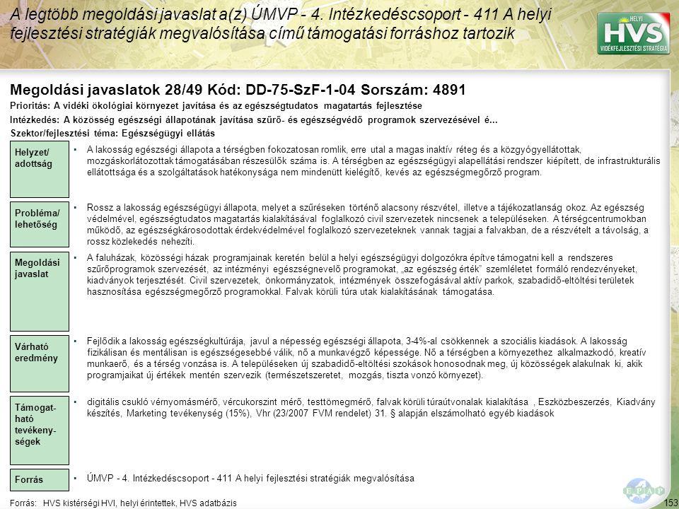 Megoldási javaslatok 28/49 Kód: DD-75-SzF-1-04 Sorszám: 4891