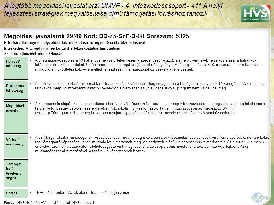 Megoldási javaslatok 29/49 Kód: DD-75-SzF-B-08 Sorszám: 5325