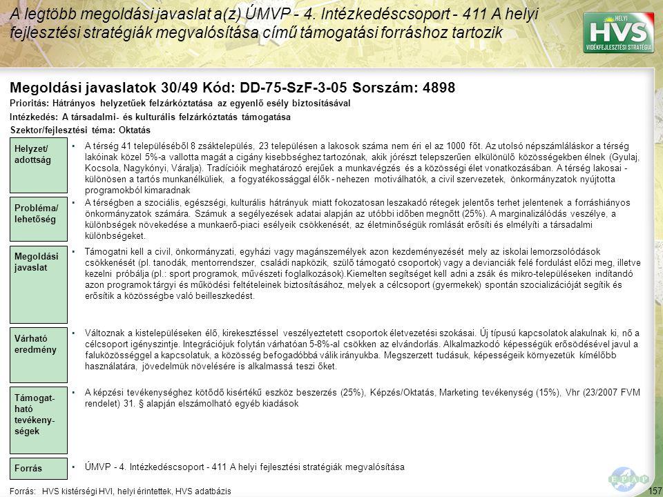 Megoldási javaslatok 30/49 Kód: DD-75-SzF-3-05 Sorszám: 4898