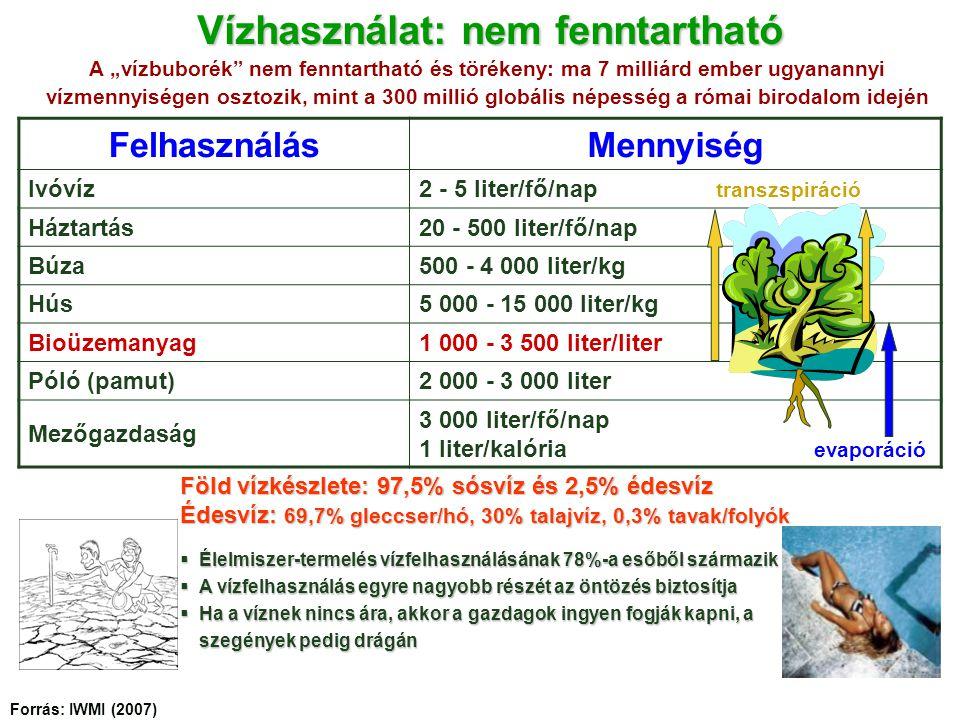 Vízhasználat: nem fenntartható