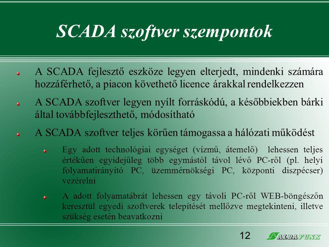 SCADA szoftver szempontok