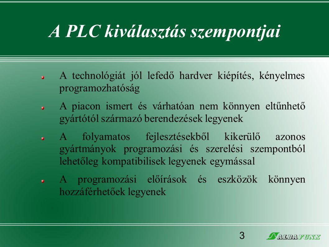 A PLC kiválasztás szempontjai