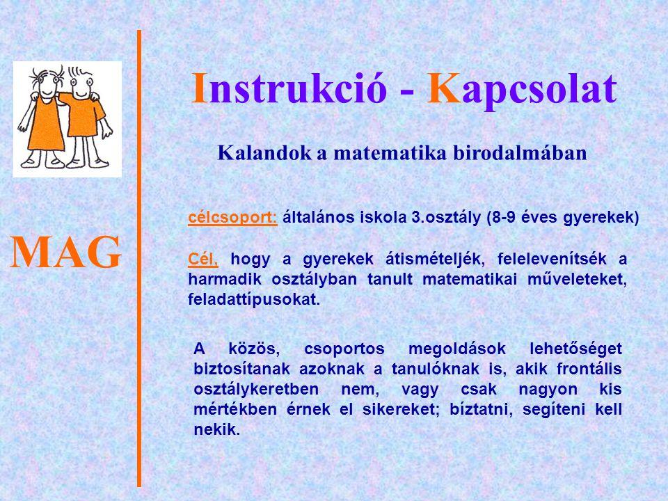 Instrukció - Kapcsolat Kalandok a matematika birodalmában