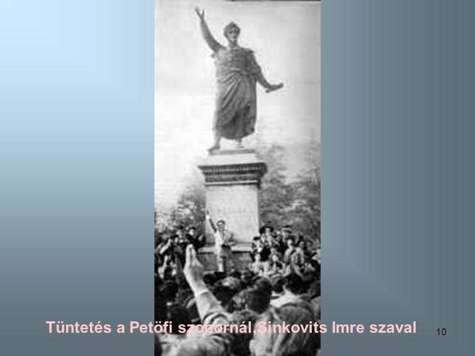 Tüntetés a Petöfi szobornál,Sinkovits Imre szaval