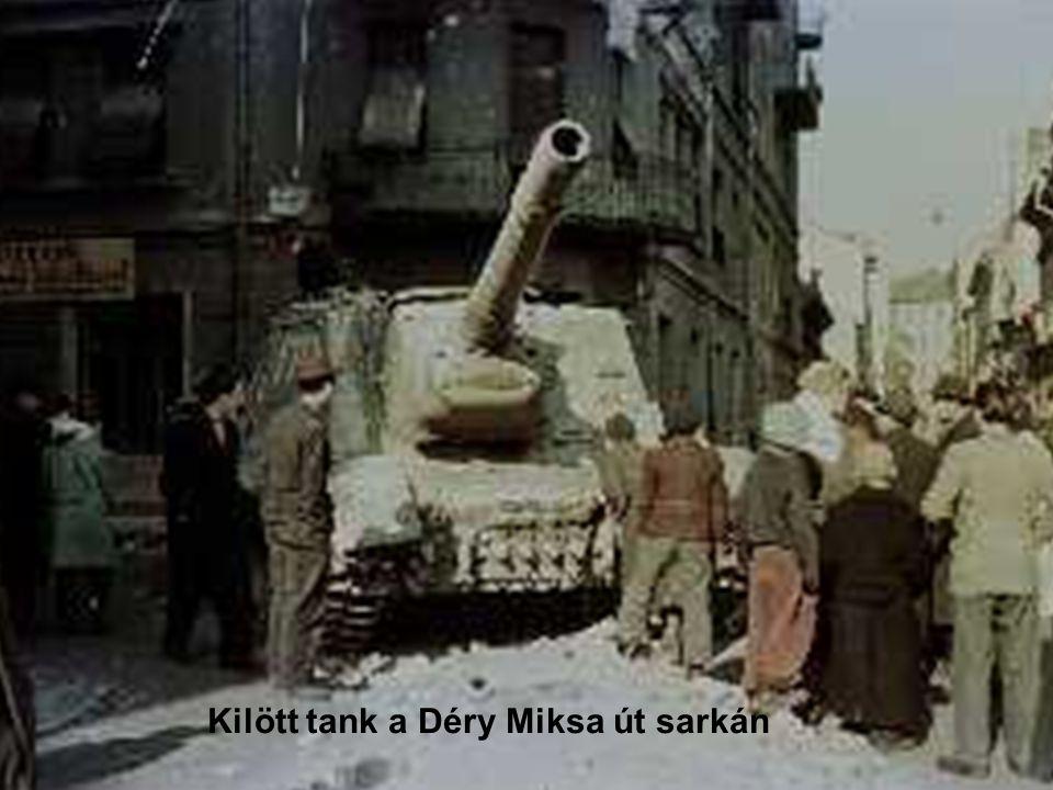 Kilött tank a Déry Miksa út sarkán