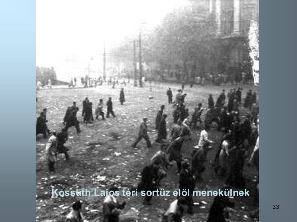 Kossuth Lajos téri sortüz elöl menekülnek