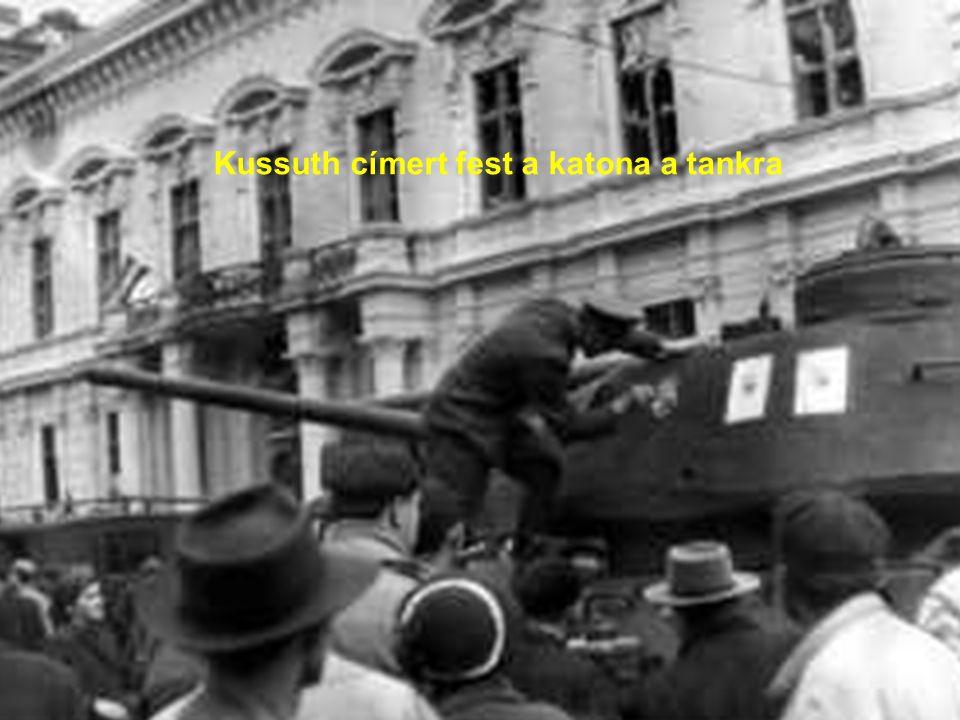Kussuth címert fest a katona a tankra