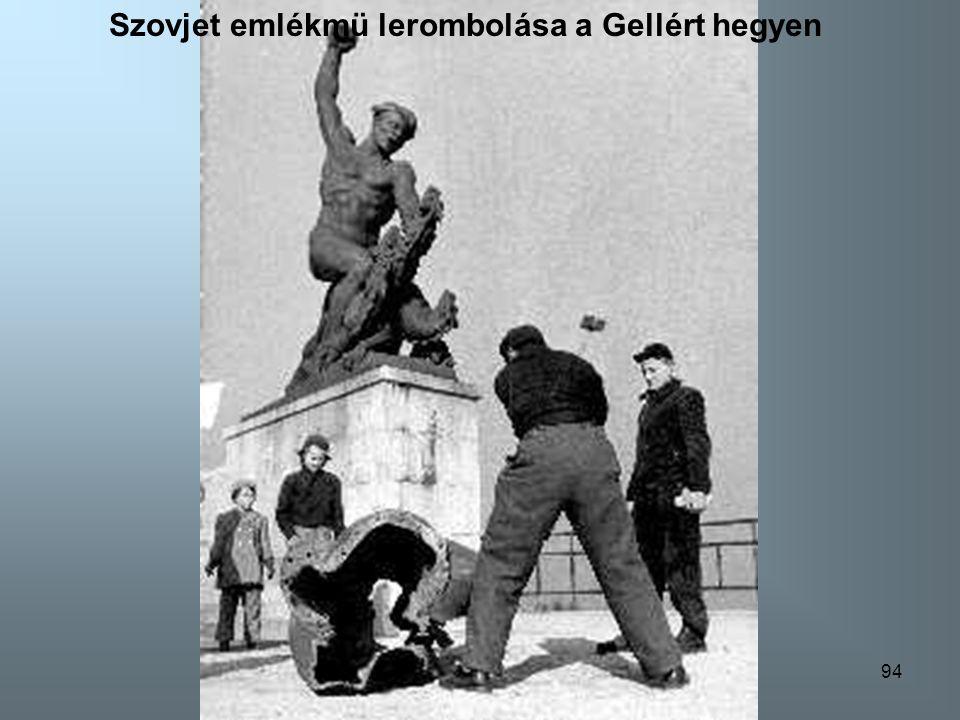 Szovjet emlékmü lerombolása a Gellért hegyen