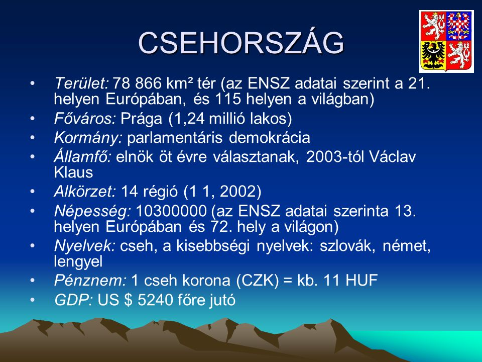 CSEHORSZÁG Terület: 78 866 km² tér (az ENSZ adatai szerint a 21. helyen Európában, és 115 helyen a világban)