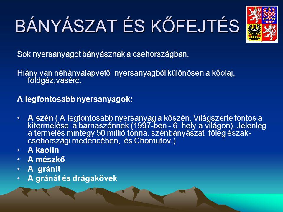 BÁNYÁSZAT ÉS KŐFEJTÉS Sok nyersanyagot bányásznak a csehországban.