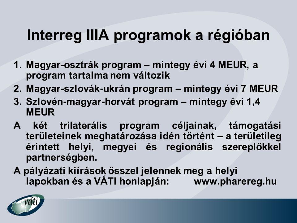 Interreg IIIA programok a régióban