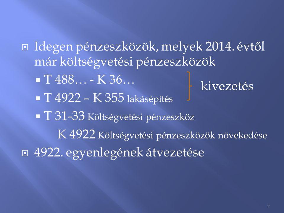 Idegen pénzeszközök, melyek 2014. évtől már költségvetési pénzeszközök