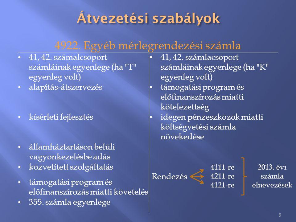 Átvezetési szabályok 4922. Egyéb mérlegrendezési számla