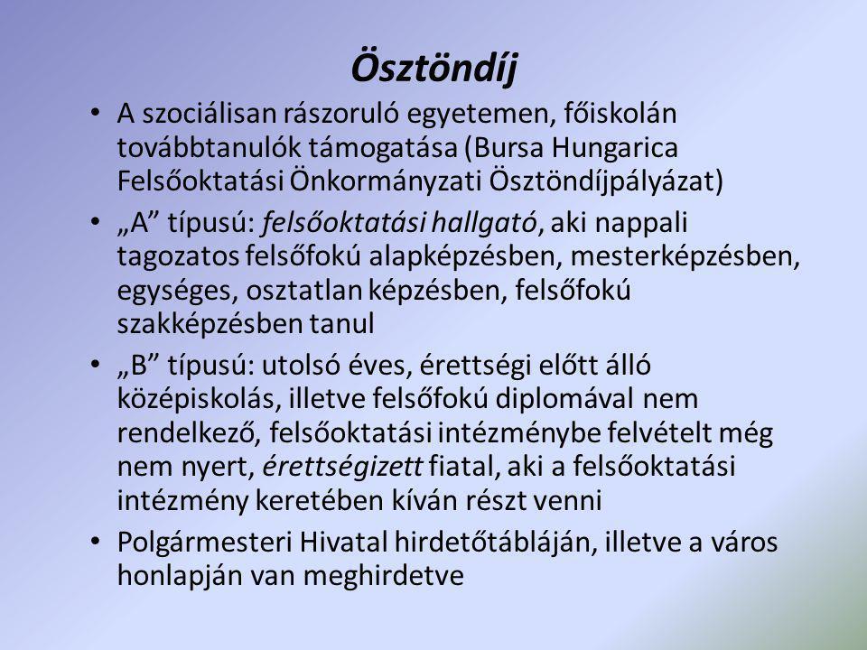 Ösztöndíj A szociálisan rászoruló egyetemen, főiskolán továbbtanulók támogatása (Bursa Hungarica Felsőoktatási Önkormányzati Ösztöndíjpályázat)