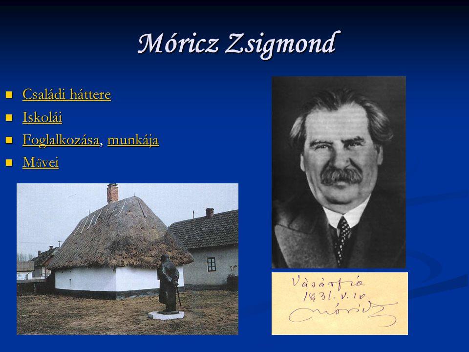 Móricz Zsigmond Családi háttere Iskolái Foglalkozása, munkája Művei